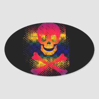 colorful skull and crossbones oval sticker