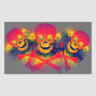 colorful skull and crossbones rectangular sticker