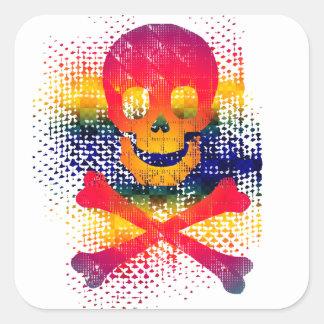 colorful skull and crossbones square sticker