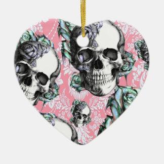 Colorful skull and roses Pattern. PJ. Ceramic Ornament