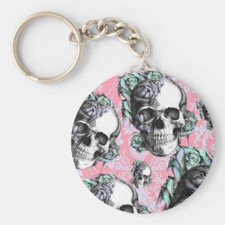 Colorful skull and roses Pattern. PJ. Keychain