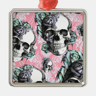 Colorful skull and roses Pattern. PJ. Metal Ornament