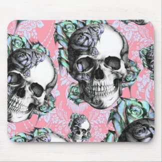 Colorful skull and roses Pattern. PJ. Mouse Pad