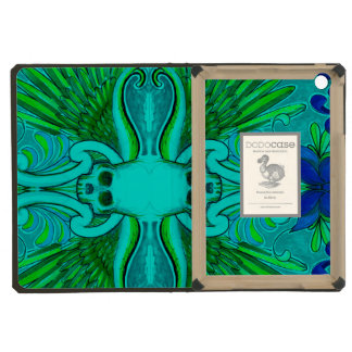 Colorful Skull and Wings tattoo design with lotus iPad Mini Covers