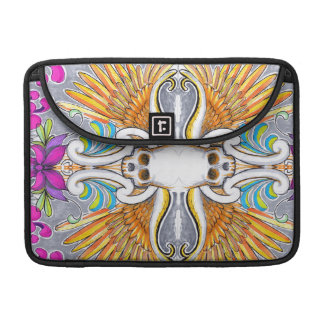 Colorful Skull and Wings tattoo design with lotus Sleeves For MacBook Pro