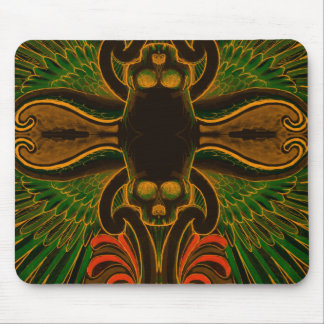 Colorful Skull and Wings tattoo design with lotus Mouse Pad