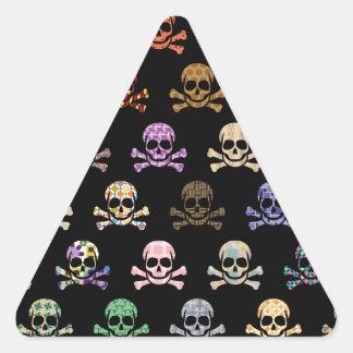 Colorful Skull & Cross Bones Triangle Sticker