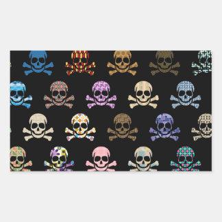 Colorful Skull & Cross Bones Rectangular Sticker