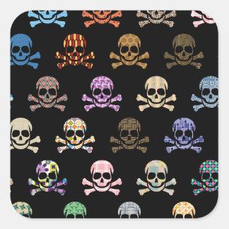 Colorful Skull & Cross Bones Square Sticker