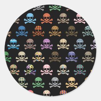 Colorful Skull & Cross Bones Classic Round Sticker