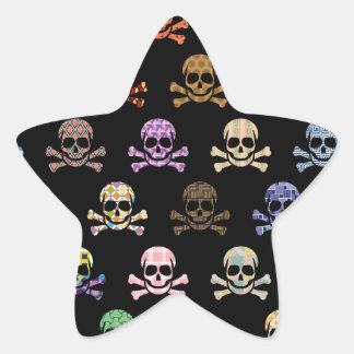 Colorful Skull & Cross Bones Star Sticker