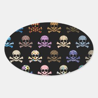 Colorful Skull & Cross Bones Oval Sticker