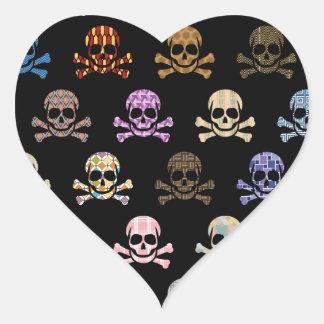 Colorful Skull & Cross Bones Heart Sticker