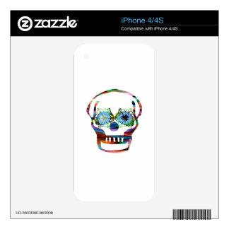 Colorful Skull with One Black Eye iPhone 4S Skin