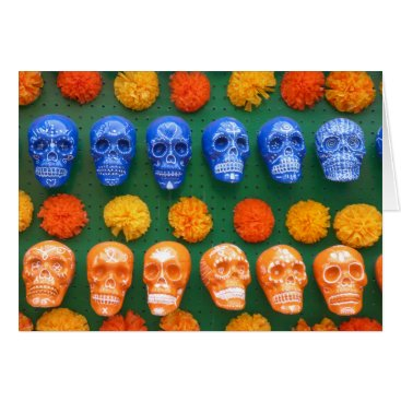Halloween Themed Colorful Skulls of the Ancestors Card