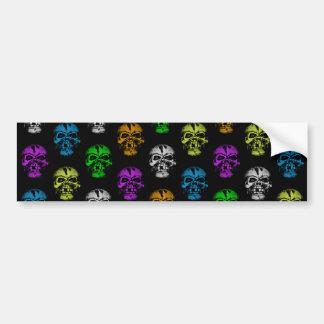 Colorful Skulls Pattern Bumper Sticker