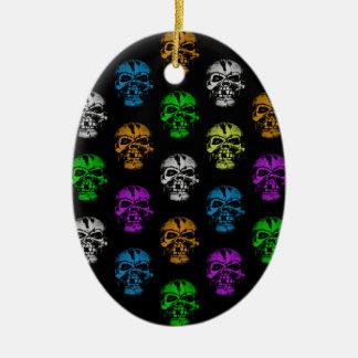 Colorful Skulls Pattern Ceramic Ornament