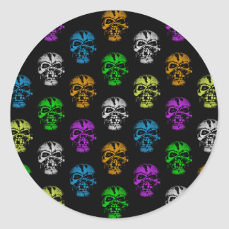 Colorful Skulls Pattern Classic Round Sticker