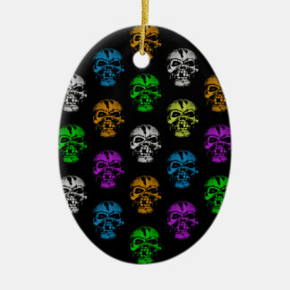 Colorful Skulls Pattern Double-Sided Oval Ceramic Christmas Ornament