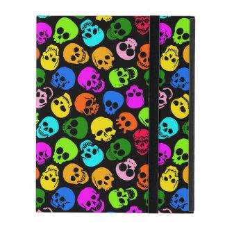 Colorful Skulls pattern in black iPad Case