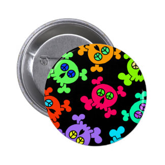 COLORFUL SKULLS WITH PEACE SIGNS 2 INCH ROUND BUTTON