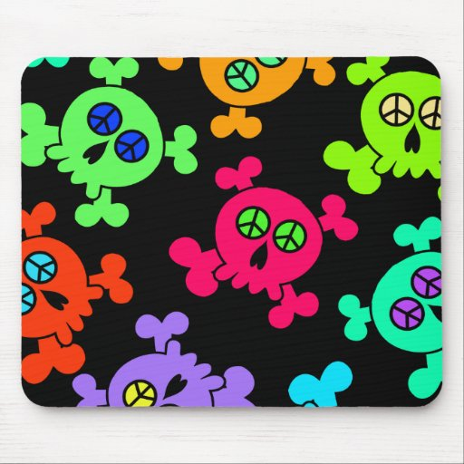 COLORFUL SKULLS WITH PEACE SIGNS MOUSE PAD