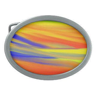 COLORFUL SKY PAINT RAINBOW ART OVAL BELT BUCKLE