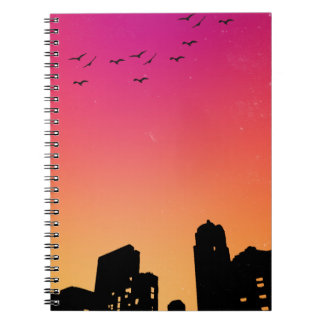 Colorful Sky w/ Birds and Buildings Silhouette Notebook