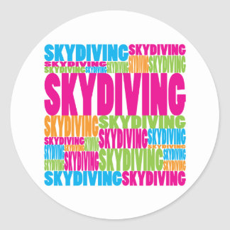 Colorful Skydiving Classic Round Sticker