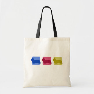 Colorful Skye Terrier Silhouettes Tote Bag