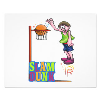 colorful slam dunk basketball kid design personalized flyer