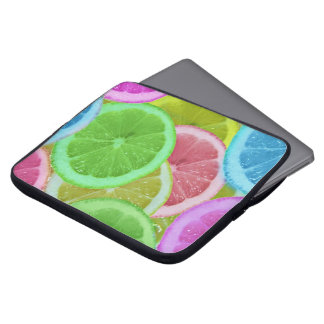 colorful slices of lemon and orange laptop computer sleeve