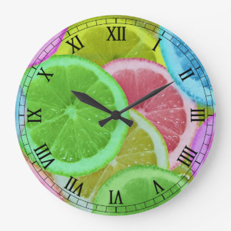 colorful slices of lemon and orange large clock
