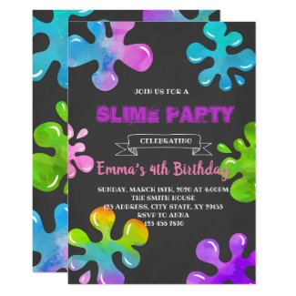 Colorful slime party invitation