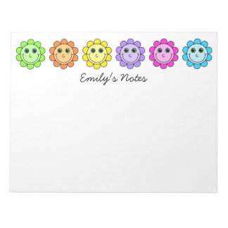 Colorful Smiley Face Flowers Personalized Notepad