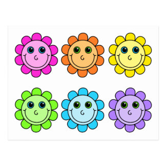 Colorful Smiley Face Flowers Postcard