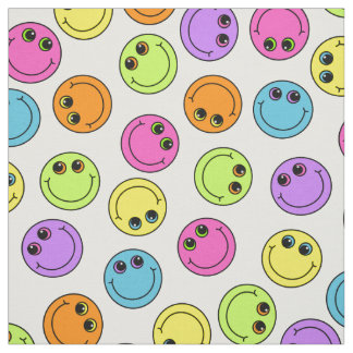 Colorful Smiley Faces Fabric