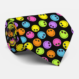 Colorful Smiley Faces on Black Double-sided Neck Tie
