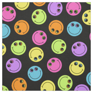 Colorful Smiley Faces on Black Fabric