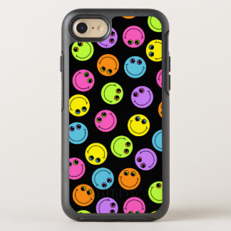 Colorful Smiley Faces on Black OtterBox Symmetry iPhone 7 Case