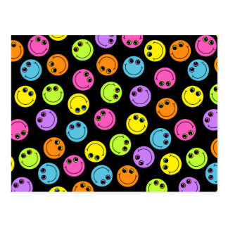 Colorful Smiley Faces on Black Postcard