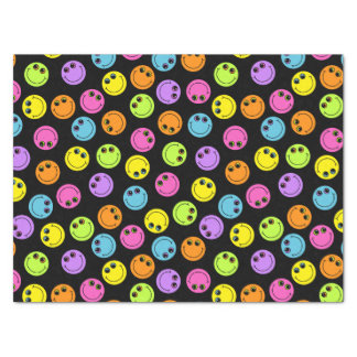 Colorful Smiley Faces on Black Tissue Paper