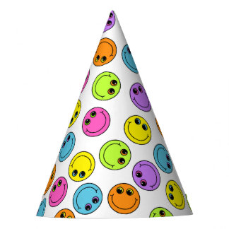 Colorful Smiley Faces Party Hat