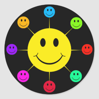 Colorful Smiley Faces Round Stickers