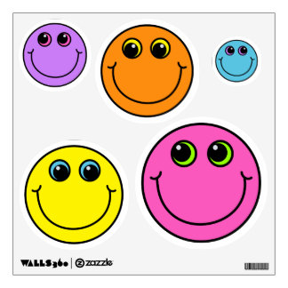 Colorful Smiley Faces Wall Decal