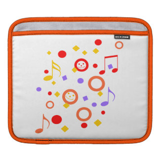 Colorful Smileys and Music Notes iPad Sleeve