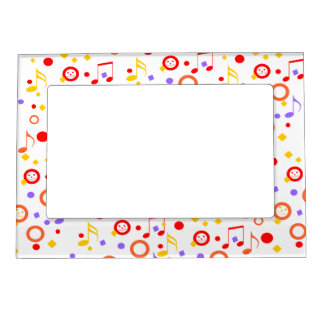 colorful smileys and music notes magnetic photo frame - Music Note Picture Frame