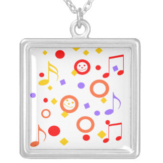 Colorful Smileys and Music Notes Square Pendant Necklace