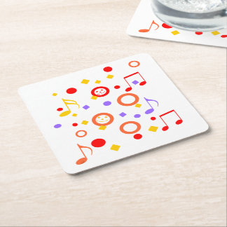 Colorful Smileys and Music Notes Square Paper Coaster