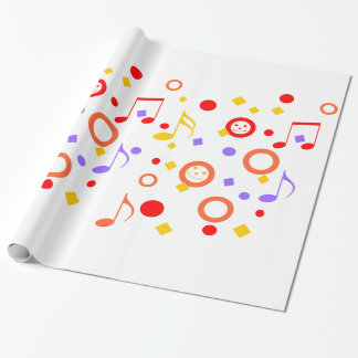 Colorful Smileys and Music Notes Wrapping Paper